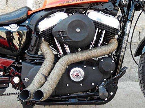 Pandure Titanium Exhaut Heat Wrap 2'' x 50' Exhaust Header Wrap kit with 20pcs Stainless Locking Ties (2'' x 50' Golden) by Pandure (Image #5)