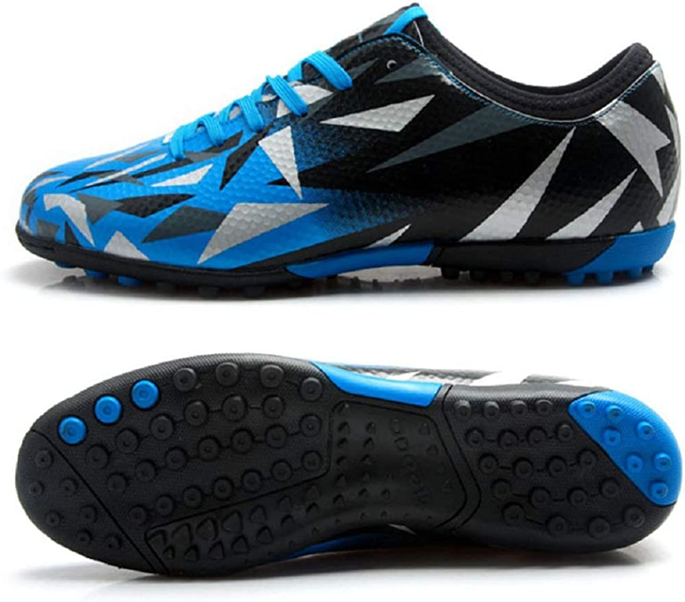Toddler//Little Kid//Big Kid Tiebao Boys Girls Atheletic Indoor Turf Soccer Cleat Football Casual Sports Shoes-Patent PVC Leather-Turf,Comfortable Lace-up Shoes Blue