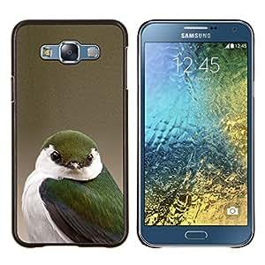 KLONGSHOP // Cubierta de piel con cierre a presión Shell trasero duro de goma Protección Caso - songbird verde amarillento naturaleza blanco verde - Samsung Galaxy E7 E700 //