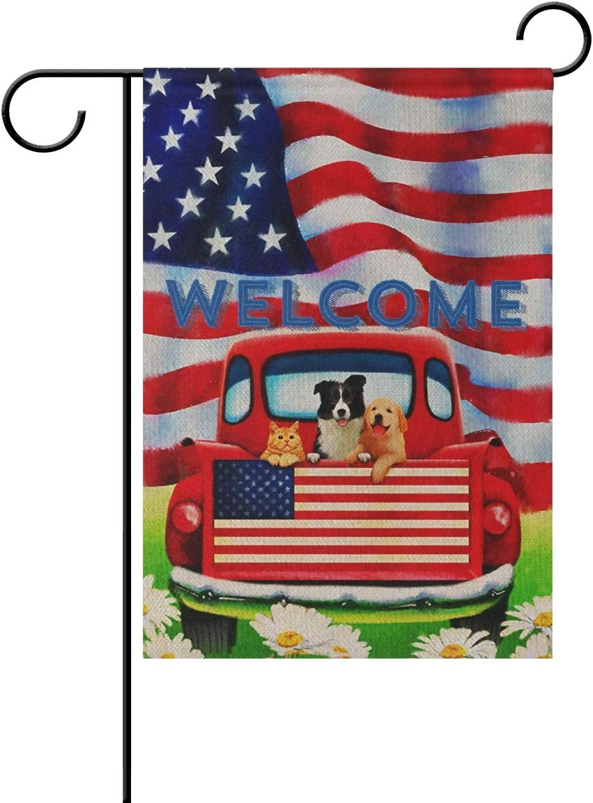 TSENQUE Double-Sided Outdoor Garden Flags, Welcome Dog Red Truck American Flag Burlap Yard Decorative Flag, Summer Fall Farmhouse Yard Outdoor Decor 12 x 18 Inch