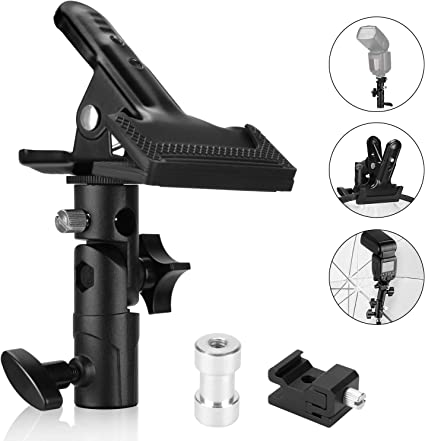 Neewer 3 Packs Photo Studio Heavy Duty Metal Clamp Holder and Cold Shoe Adapter for Clamping Reflector or Mounting Speedlite Flash and Umbrella on Light Stand