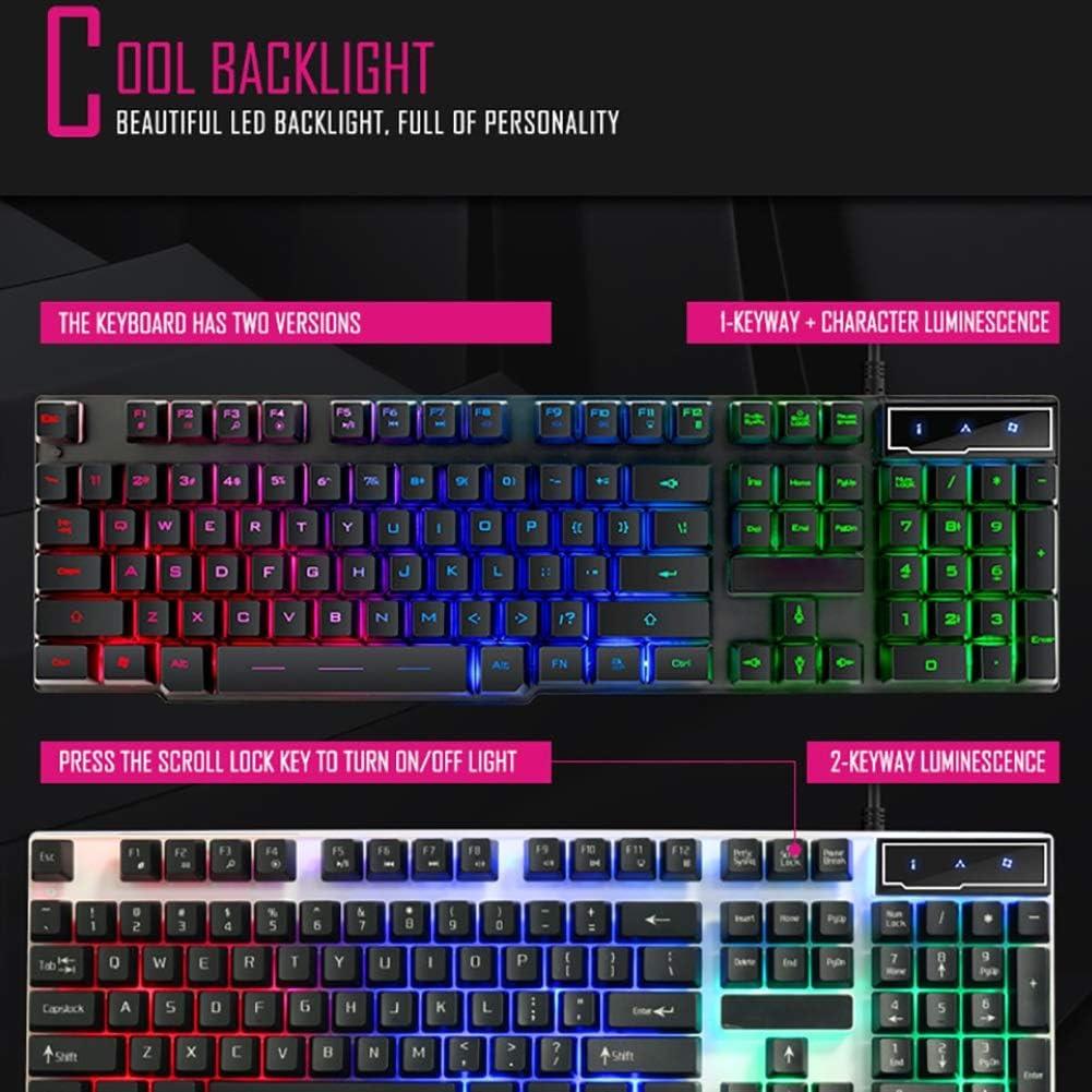 Wyyggnb Gaming Keyboard Computer Wired Game Keyboard Tri-Color Backlit Keyboard Waterproof Keyboard Typing Office Floating Button Game Esport Keyboard Color : Black