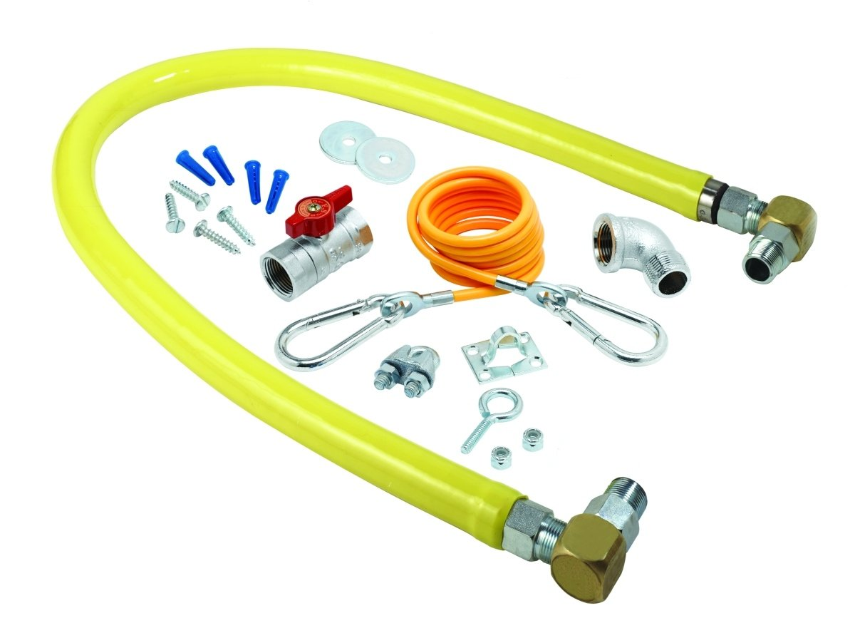 Installation Kit and Swivelink Fittings T/&S Brass HG-2D-36SK Gas Hose with Free Spin Fittings 36-Inch Long 3//4-Inch Npt