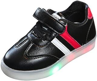 Elecenty Bébé Rayé Chaussures LED Baskets Sport, Brillant Veilleuse Barre Transversale Bambin Gamins Enfants Lumière Up Lumineux Chaussures de Sport