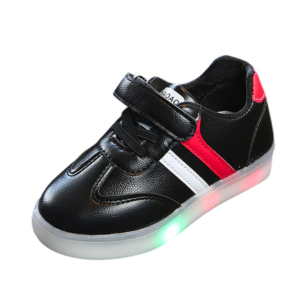 WARMSHOP Children LED Light Up Shoes 0-9T Colorful Lightweight Soft Sole Stripe Luminous Outdoor Sneaker China