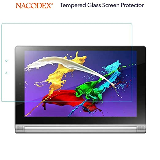 Nacodex Glass for Lenovo Yoga Tablet 2 1050F 10.1 inch Tempered Glass Clear Screen Protector [0.33mm 9H Hardness] (for Lenovo Yoga Tablet 2 10.1 inch)