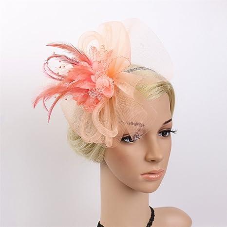 LYQ Princess Donna Elegante Fascinator Cappello da sposa Piuma Hairband  Headwear Fiore Accessori per capelli Cocktail a976eaff35f6