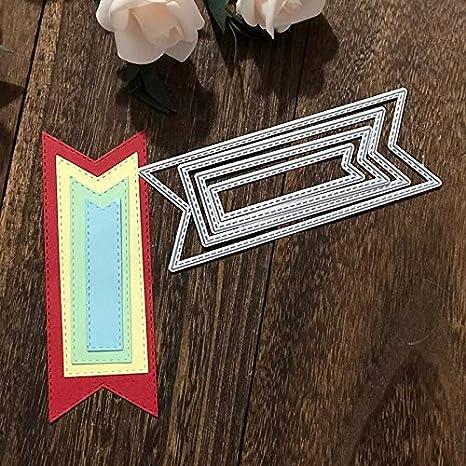 Amazon Com Stitched Banner Scrapbooking Dies Cutting Dies Letmefun Metal Cutting Dies New 2019 For Photo Album Paper Card Embossing Stencil 131mmx49mm