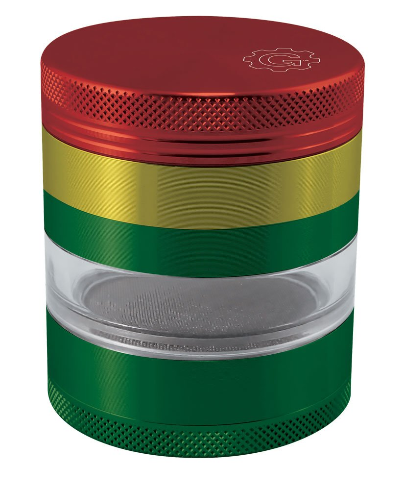 2.2'' Grindhouse 4pc Aluminum Grinder with Solid Top & Side Window - Assorted Colors (Rasta)