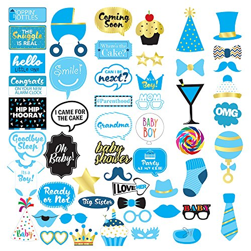 Baby Shower Boy Photo Booth Props - 53 Pieces - Baby Shower Decorations, Gifts, Favors and Supplies for Boy - Pregnancy Announcement - Gender Reveal Party