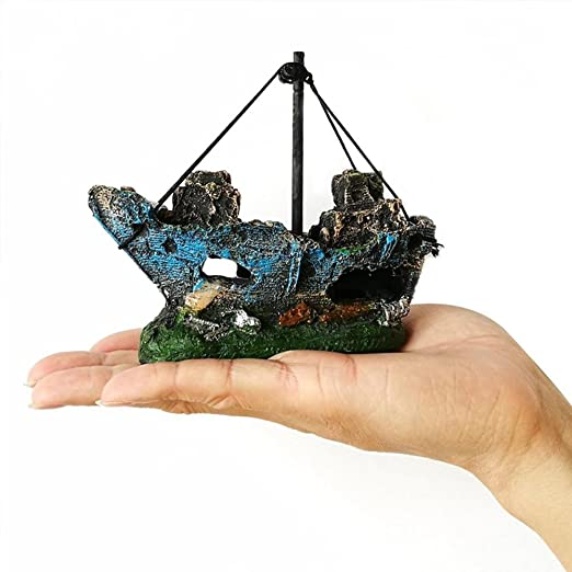 AOLVO - Decoración para pecera, Planta Artificial Verde, Hierba de Agua, 10 Unidades, Resina, Barco de Pesca, Cueva de Acuario, Tronco de Resina y Dibujos ...