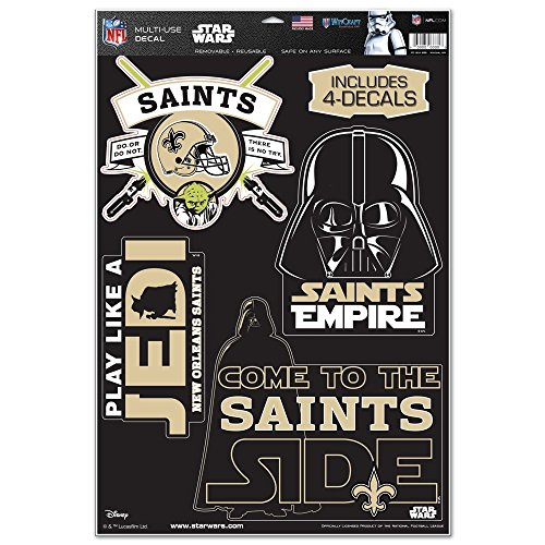 WinCraft New Orleans Saints Official NFL 11 inch x 17 inch Star Wars Darth Vader Car Window Cling Decal by 403254
