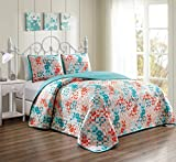 GrandLinen 3 Piece Turquoise Blue/Orange White Fine printed Prewashed Quilt Set Reversible Bedspread Coverlet FULL/QUEEN SIZE Bed Cover