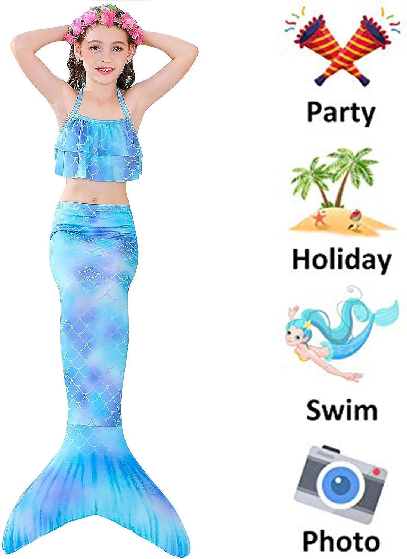 4 PCS Girls Swimsuits Mermaid for Swimming Tankini Top with Bottom Mermaid Costumes