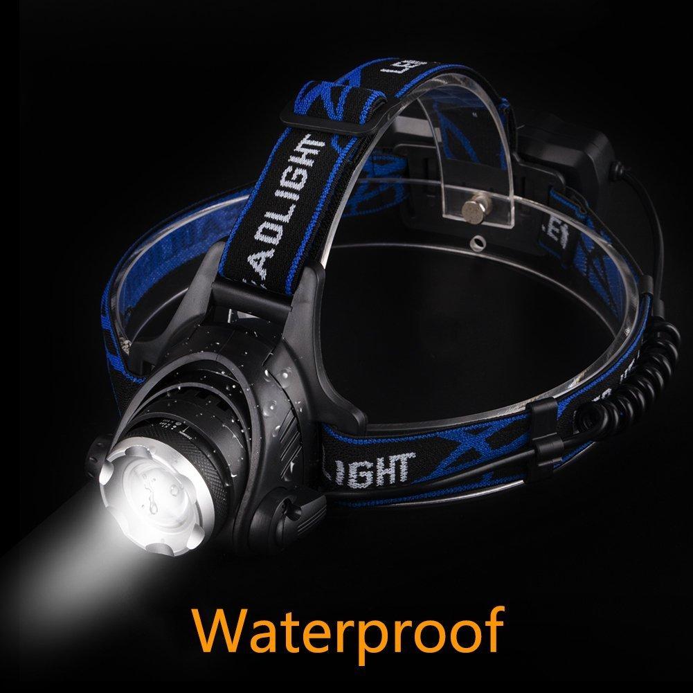 Linkax Linterna Frontal LED USB Recargable Linterna de Cabeza Alta Potencia 2000LM Luz Frontal Lamp/ára de Cabeza 6 Modos Impermeable Para Camping Pesca Ciclismo Carrera Bater/ía 18650 incluida