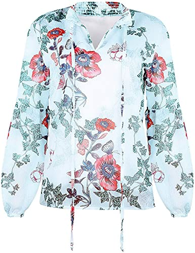 HOUMENGO Mujeres Casual Elegantes Impreso Cuello V Manga Larga Camiseta Blusa T-Shirt Tops De Manga Larga Acampanada PoliéSter Pullover Blusa Superior: Amazon.es: Ropa y accesorios