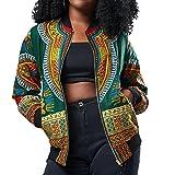 FEITONG Women Fashion Printed Long Sleeve Casual Oversize Jacket Short Coat(Large,Green)