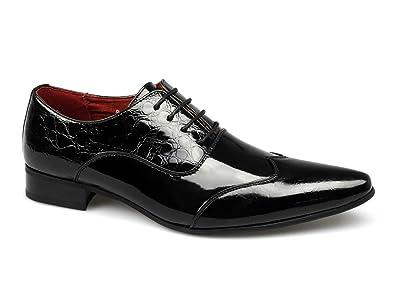 Shuperb FELINI ZX Herren Schuhe schuppiger Patent Kunstleder, Schwarz, Schwarz - Patent Black - Größe: 45