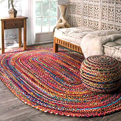 nuLOOM Hand Braided Bohemian Colorful Cotton Oval Rug, Multi, 3