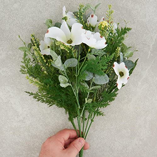 Factory Direct Craft Artificial Floral Bush with White Dogwood Blooms Greenery and Creamy Faux Berries Fern Fronds
