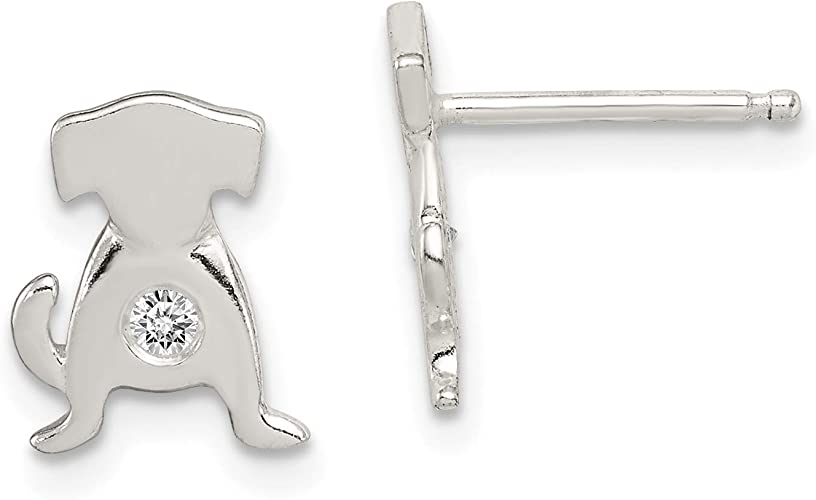 Sterling Silver Polished CZ Dog Post Earrings Animals Cats /& Dogs