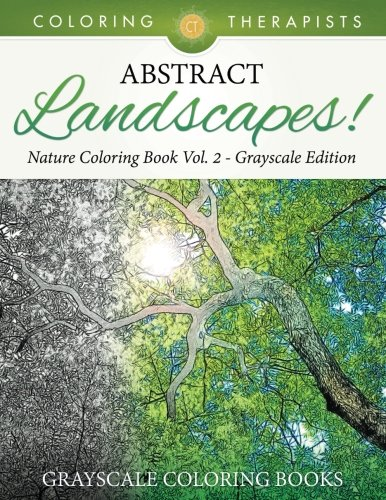 Abstract Landscape - Abstract Landscapes! - Nature Coloring Book Vol. 2 Grayscale Edition | Grayscale Coloring Books
