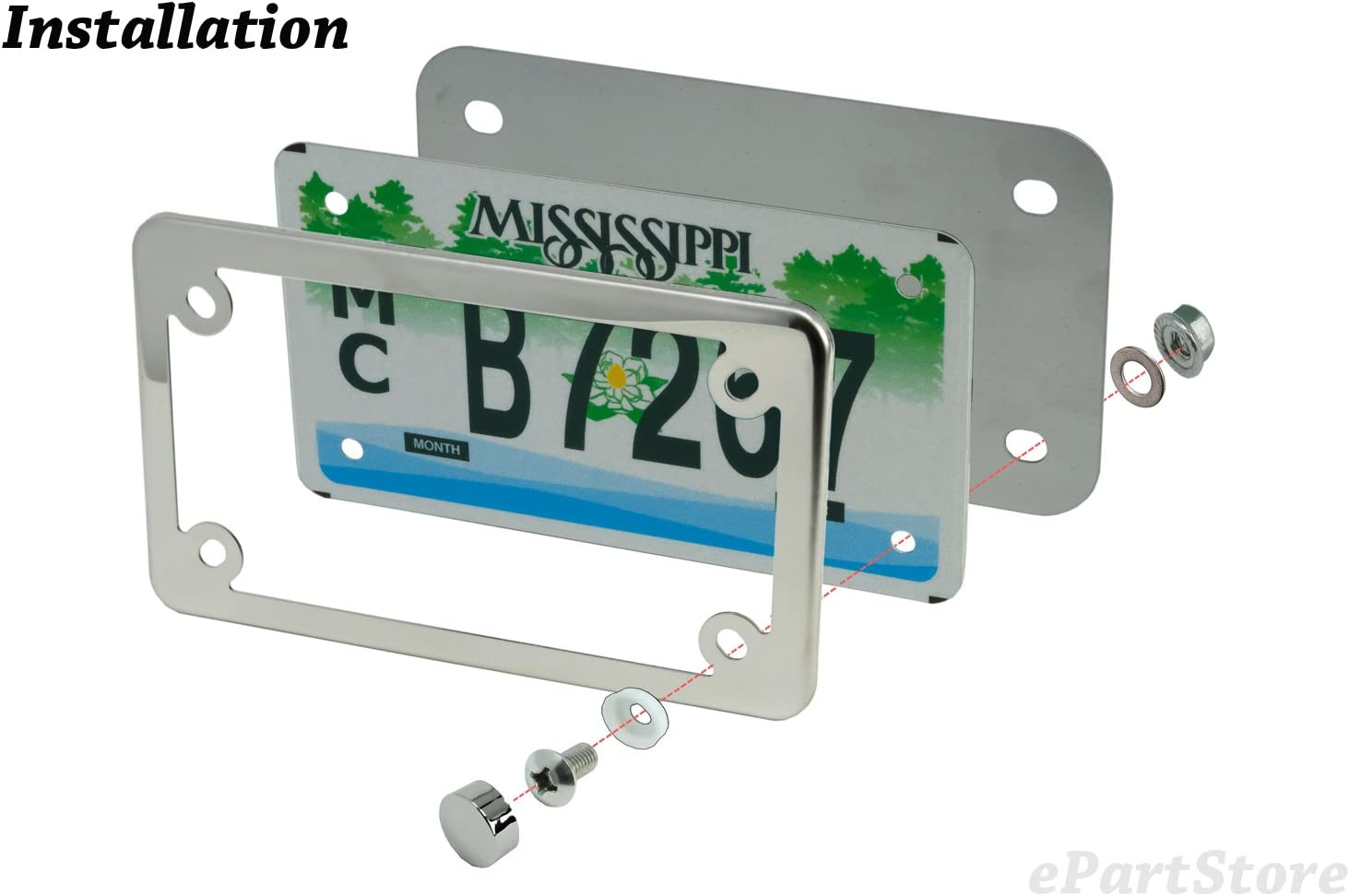 LFPartS Stainless Steel Backing Reinforce Plate for Motorcycle License Plate