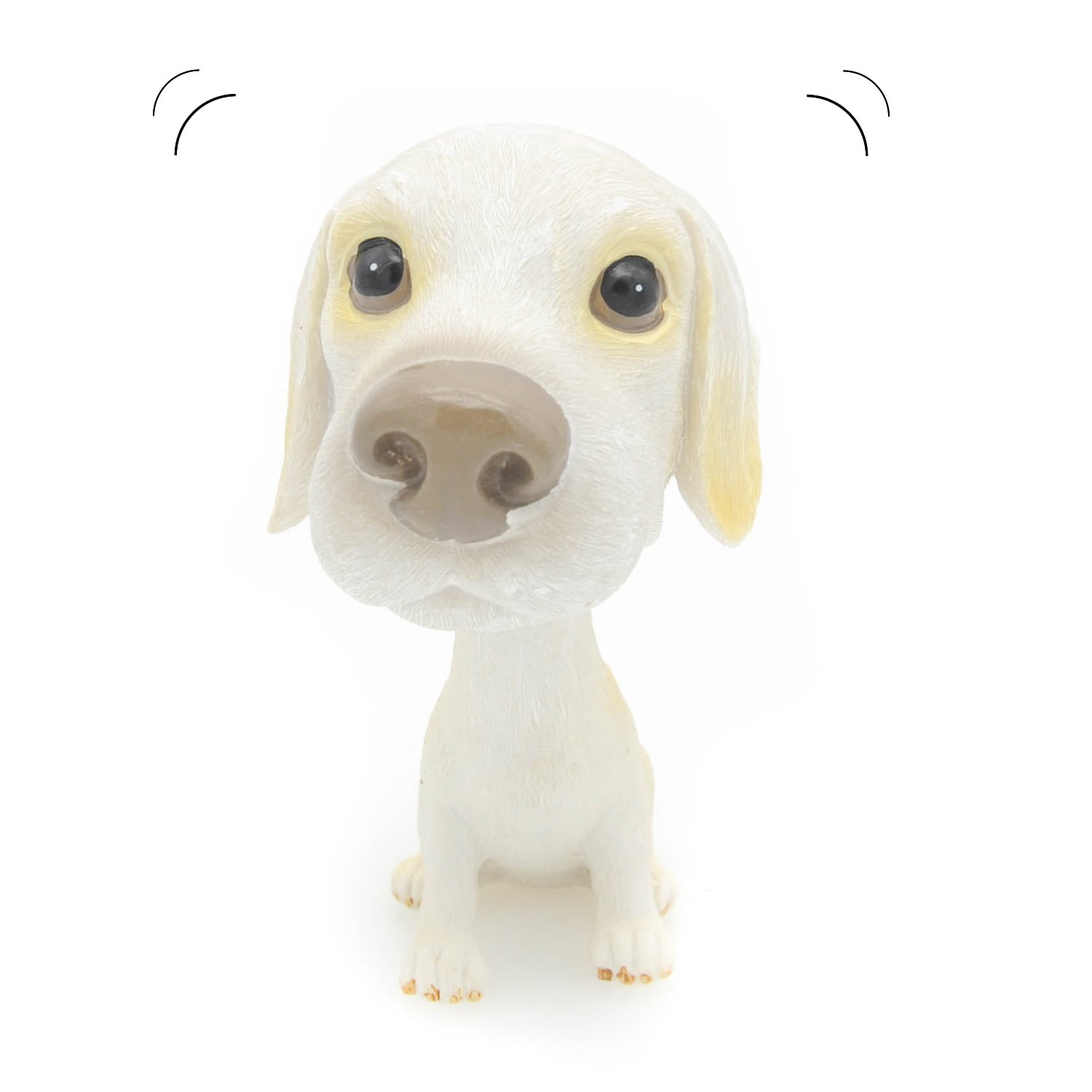 Velener Nodding Dog Ornaments Mini Bobble-Head Toys for Car Decoration (Small Swiss Hound, White)