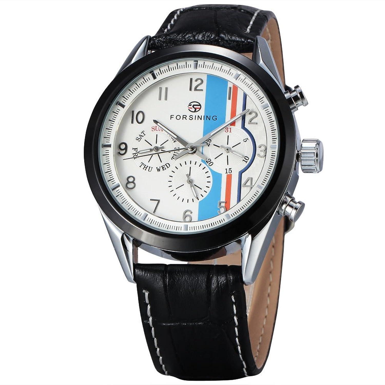 FORSININGメンズドレススタイル6 Hands Flywheel自動機械腕時計ブラックレザーバンド 2# B071Z411H32#