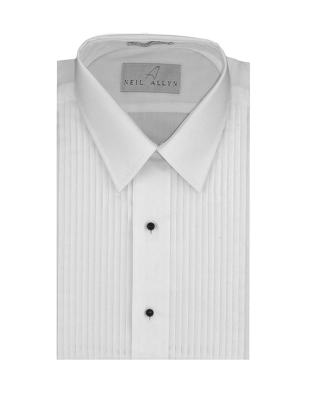 Neil Allyn Men's SLIM FIT Lay-Down Collar 1/4 Pleats Tuxedo Shirt
