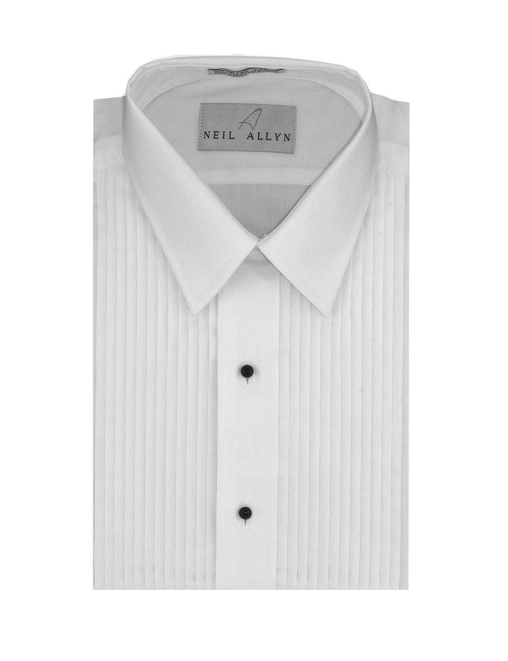 Neil Allyn Men's SLIM FIT Lay-Down Collar 1/4'' Pleats Tuxedo Shirt-M-32-33