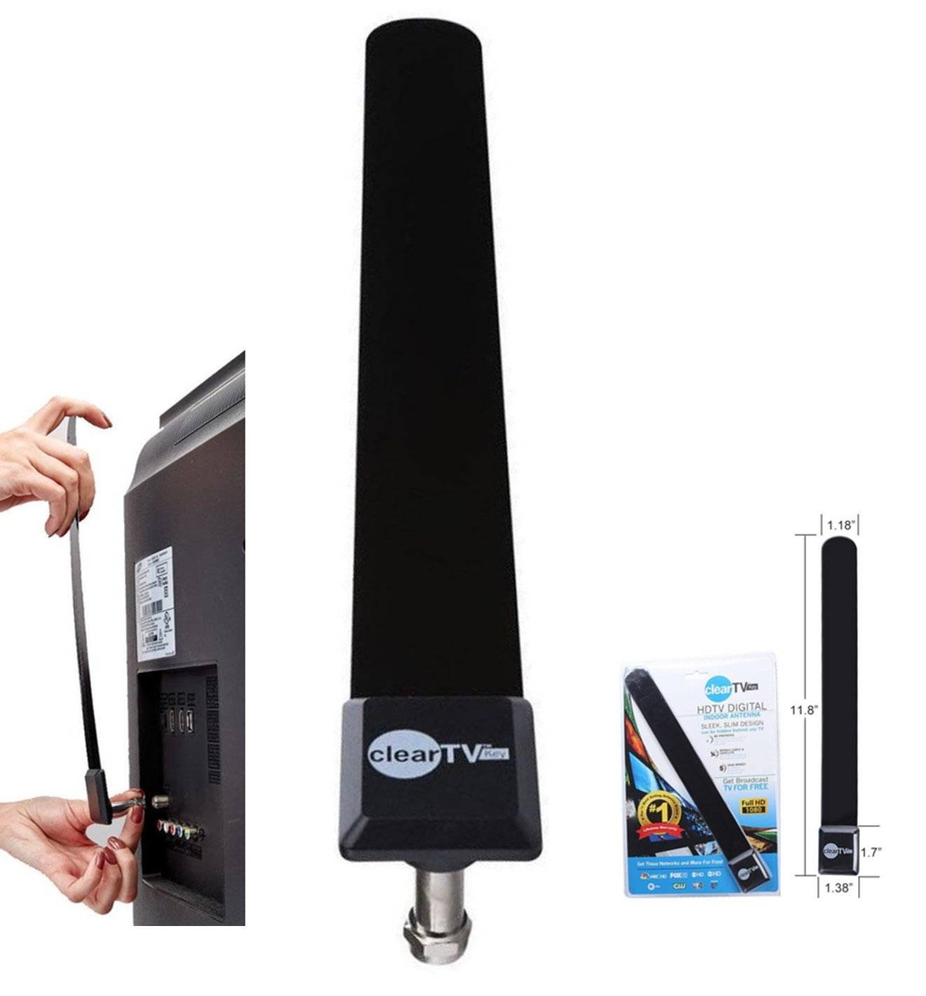 Clear TV Key Digital Indoor Antenna Stick – Pickup More Channels with HDTV Signal Receiver Antena Booster (Number & Quality of Channel Pickup Depends on Living Area)- Full 1080p HD - Easy Installation