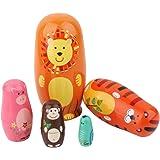 BAOBLADE 5 Pieces Cute Animal Cartoon Painted Wooden Russian Nesting Dolls Set Babushka Matryoshka Toy Kids Chirstmas…