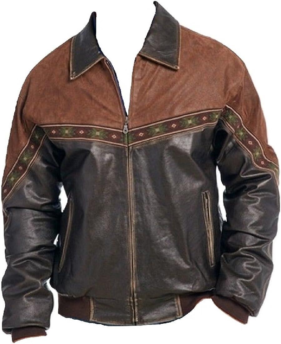 Bestzo Mens Western Brando Style Biker Cow Leather /& Suede Jacket Brown XS-5XL
