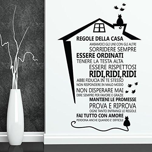 WALPLUS Adesivo da Parete Rimovibile House Rules – Italiano Decorazione da Parete Arte Casa Soggiorno Cucina Ristorante Café Hotel Decorazione Wallflexi