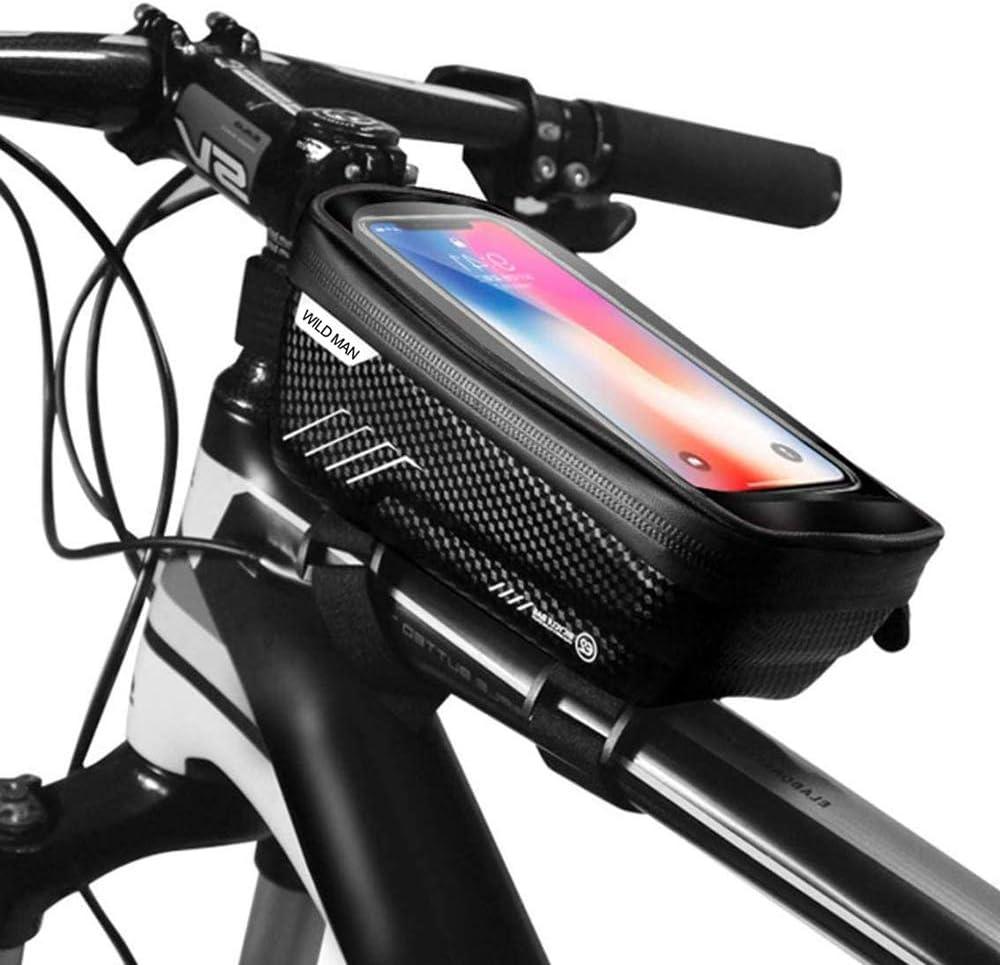 حقيبة إطار الدراجة من اينو تيك، حقيبة إطار الدراجة المقاومة للماء، حقيبة مقود للدراجات النارية، حقيبة أمامية للدراجات مزودة بشاشة لمس لهواتف أيفون وسامسونج وهواوي الذكية حتى 6.5 انش