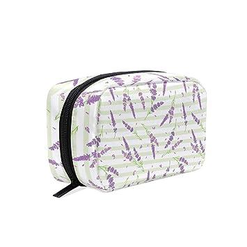 ae8fb160cfad Amazon.com : Green Stripes Lavender Nursery Women's Large Cosmetic ...