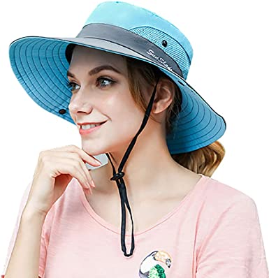 Women's Sun Hat Outdoor Wide Brim Beach UV Protection Hats Ponytail Boonie  Foldable Fishing Mesh Bucket Caps at Amazon Women's Clothing store