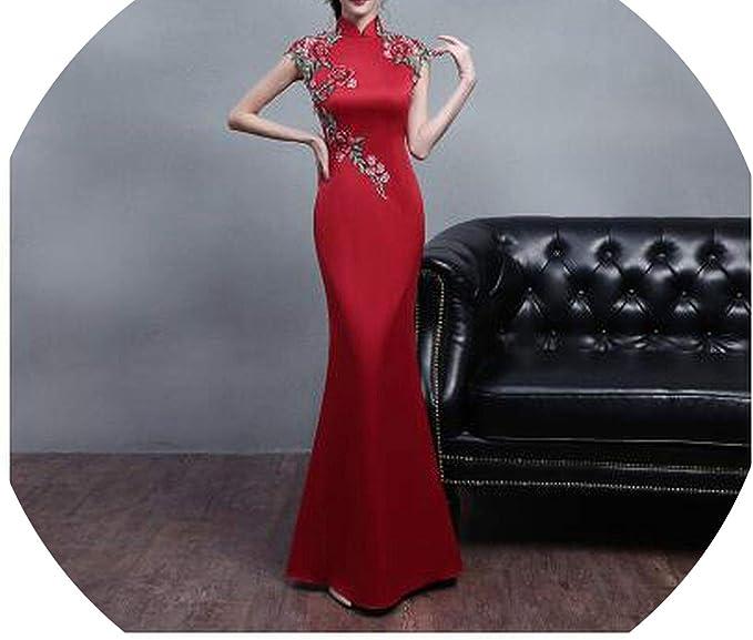 Amazon White And Red 2018 Classical Flowers Cheongsam Dress
