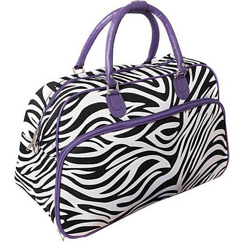 "Zebra 21"" Carry-On Duffel Bag Light Purple Trim Zebra"