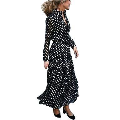 ZODOF Vestido De Lunares Mujer, Mujer Vestido Fiesta Vintage Floral Impresa Dos Piezas de Cóctel Fiesta Vestido Elegante de Largo Vestido Largo Boho de ...