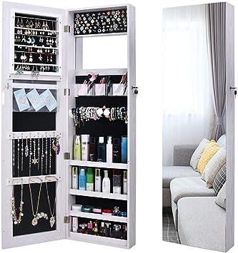 ANLW LED Bijoux Armoire Rangement Pleine Longueur Miroir ...