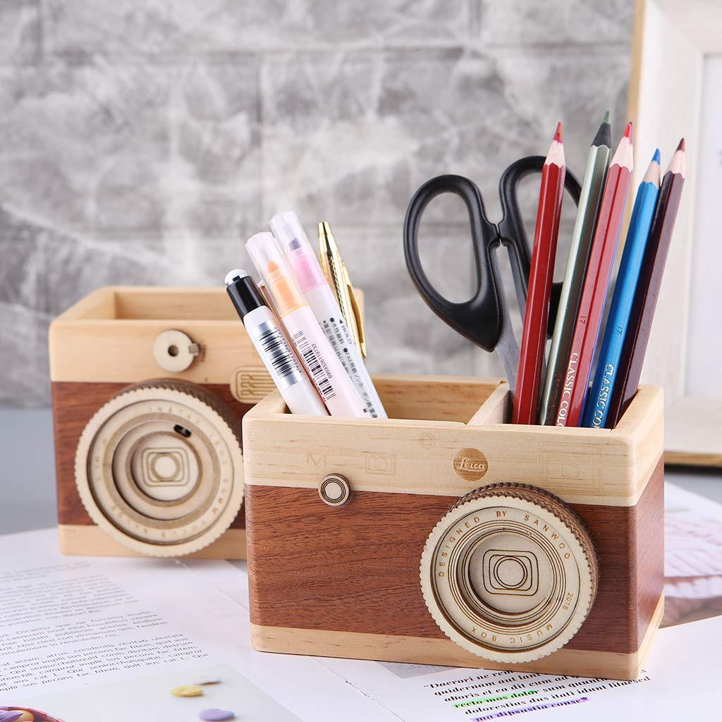 portapenne in Legno YFairy Motivo Macchina Fotografica Creativa Large Supporto da scrivania Contenitore Multiuso Portapenne in Legno