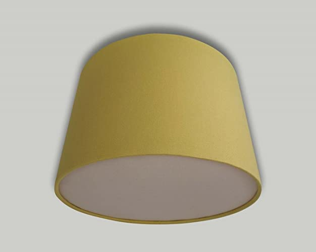 Mustard yellow drum ceiling lampshade with light beige diffuser mustard yellow drum ceiling lampshade with light beige diffuser 20cm 25cm 30cm 35cm 40cm 50cm 60cm mozeypictures Gallery