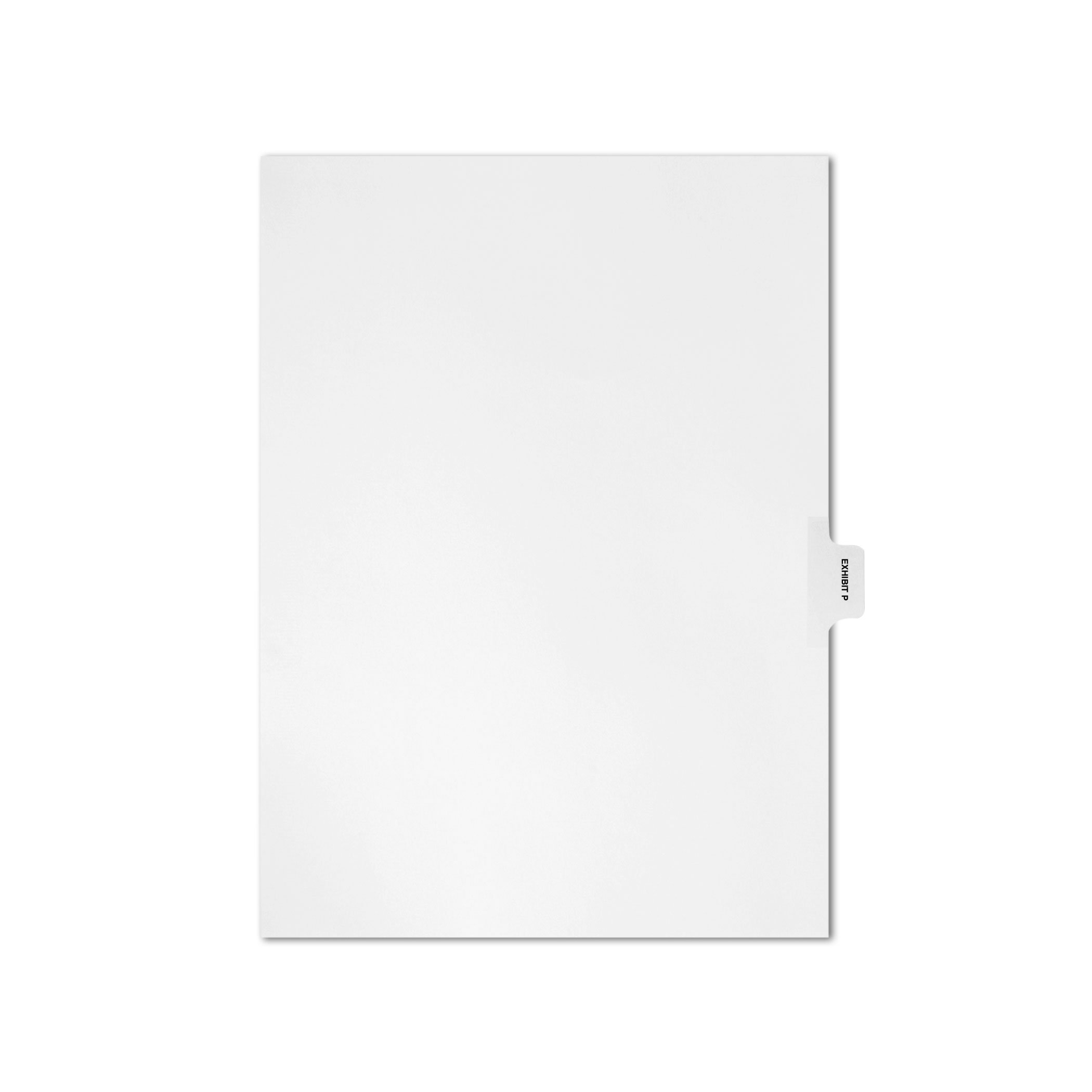 AMZfiling Individual Legal Index Tab Dividers, Compatible with Avery- Exhibit P, Side Tabs, Letter Size, White, Position 6 (25 Sheets/pkg)