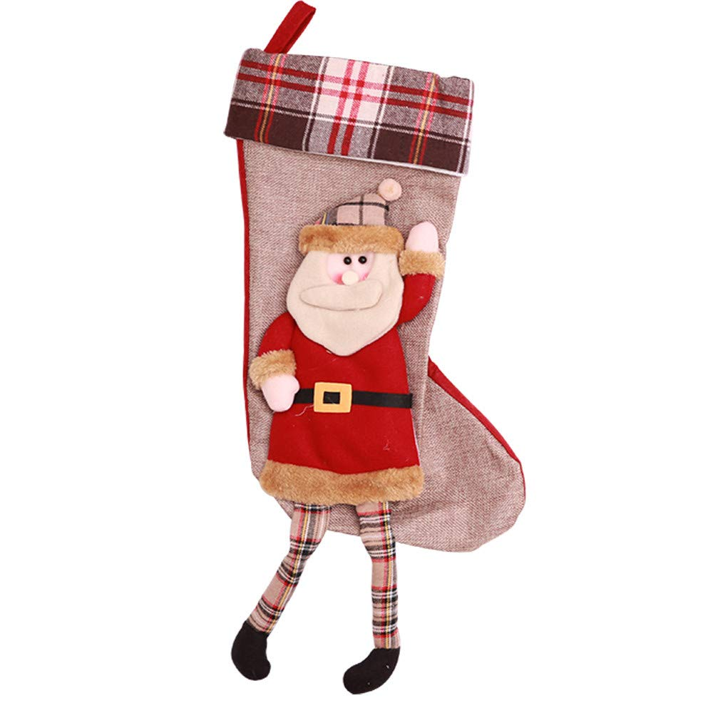 lotus.flower Christmas Socks, Christmas Hanging Stocking,Candy Bag, Christmas Xmas Tree Decorations Ornaments Gift Home Decor Festival Party Set (Santa Claus)