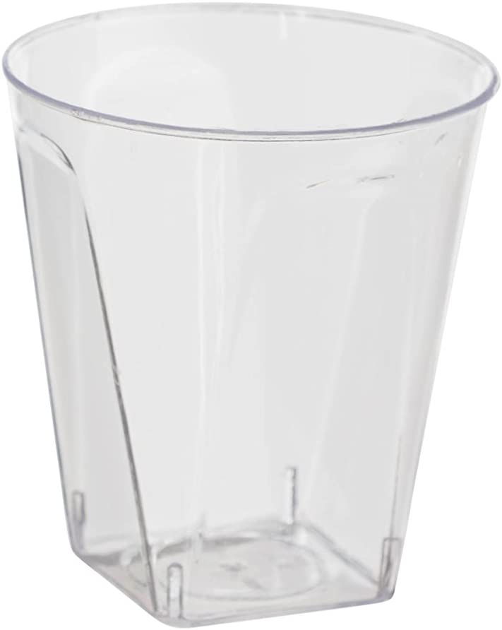 Exquisite 2 Oz. Disposable Plastic Shot Glasses - Square Bottomed - (500) Party Shooter Glasses