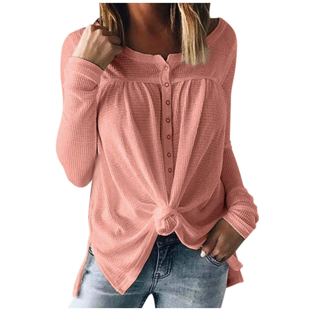 HebeTop Womens Waffle Knit Tunic Blouse Tie Knot Henley Tops Loose Fitting Bat Wing Plain Shirts Pink by ▶HebeTop◄➟HOT SALES