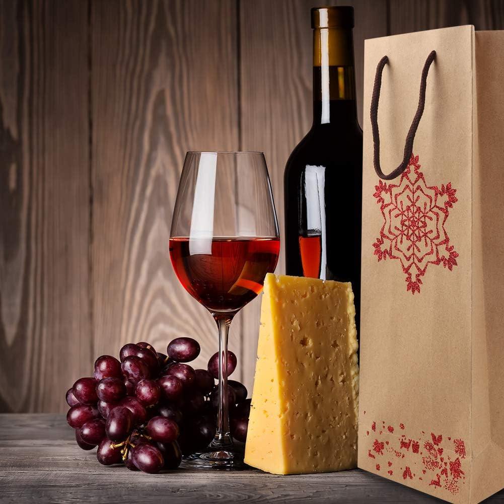 4 estilos 12 piezas Bolsas de Botella Bolsas de regalo de vino Bolsas de Papel para Botellas Bolsas de vino de navidad Bolsa de papel champ/án para la celebraci/ón del aniversario de la fiesta