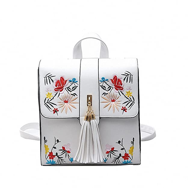 Amazon.com: PU Embroidery Backpack School Bags For Teenagers Casual Black Trave Backpack Women Mochila Sac A Dos Femme: Shoes